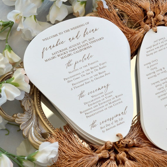 Fan Wedding Program with Tassel - Die Cut Wedding Program on Double Thick Cotton Card Stock with Khaki Silky Tassels