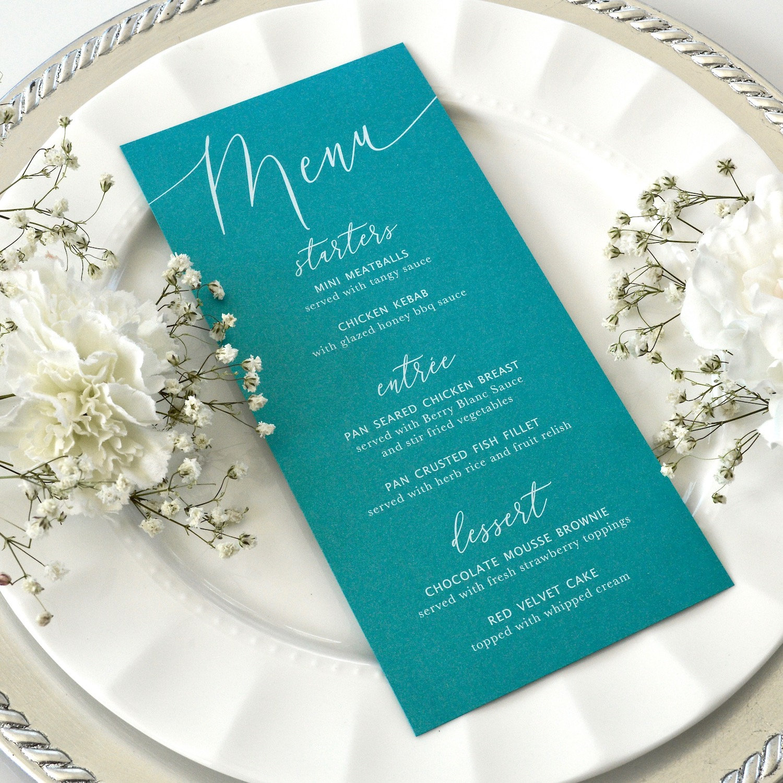 teal wedding menu  white ink on teal shimmer card stock