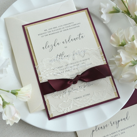 ALEZKA - Ivory Lace Pocket Wedding Invitation with Gold Glitter, Burgundy Satin Ribbon, and Burgundy Backing - Custom Colors Available