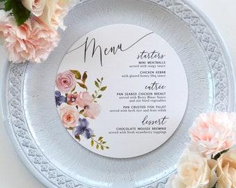 Round Wedding Menu - Blush Watercolor Flowers on White or Ivory Card Stock - Custom Dinner Menu - Circle Menu