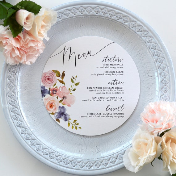 "Round Wedding Menu - Blush Watercolor Flowers on White or Ivory Card Stock - Custom Dinner Menu - 6.25"" Circle Menu"