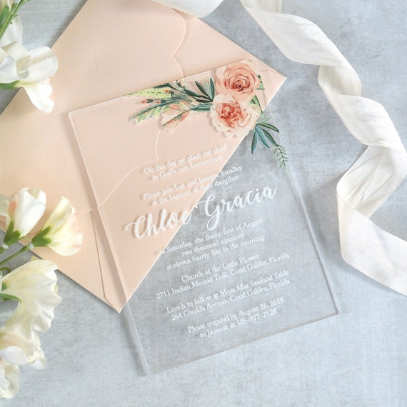 CHLOE Acrylic Baptism Invitation - Clear Acrylic Invitation with White Ink and Flowers - Peach Blush Thick Card Stock Envelopes