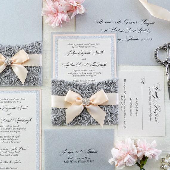 JACLYN - Gray Rosette Pocket Invitation - Silver Glitter & Peach Blush Invitation with Peach Blush Ribbon and Crystal Embellishment
