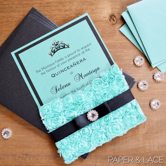 Rosette Quince Invitation - Turquoise Lace Pocket Invitation- Quinceanera Invitation with Crystal Button & Tiara - Sweet 16 (SELENA AQUA)