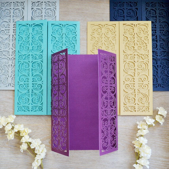 DIY Laser Cut Gatefold Doors Invitation - More Colors Available - Laser Cut Invites for Wedding, Sweet Sixteen, Quinceanera, Birthday