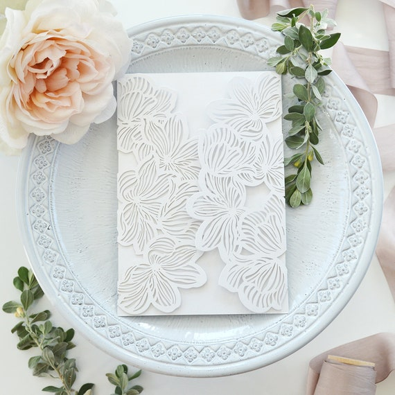 DIY Laser Cut Flowers Invitation - Laser Cut Wedding Invitation - Laser Cut Flowers Gatefold - Do It Yourself Laser Cut Wrap