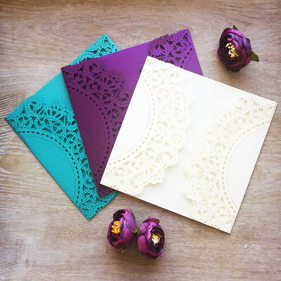 DIY Square Laser Cut Gatefold Invitation - Semi-Circle - More Colors Available - Laser Cut Invites for Wedding, Sweet Sixteen, Quinceanera