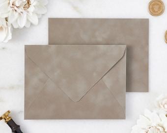 Mushroom Velvet Envelopes - A7 or A9 Euro Flap Envelopes - Suede Envelopes - Wedding Invitation Envelopes - Inner Envelope