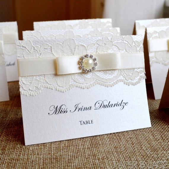 Pearl Place Cards - Ivory Lace Escort Card - Ribbon and Lace with Pearl Button - Vintage Table Cards - Elegant Placecards