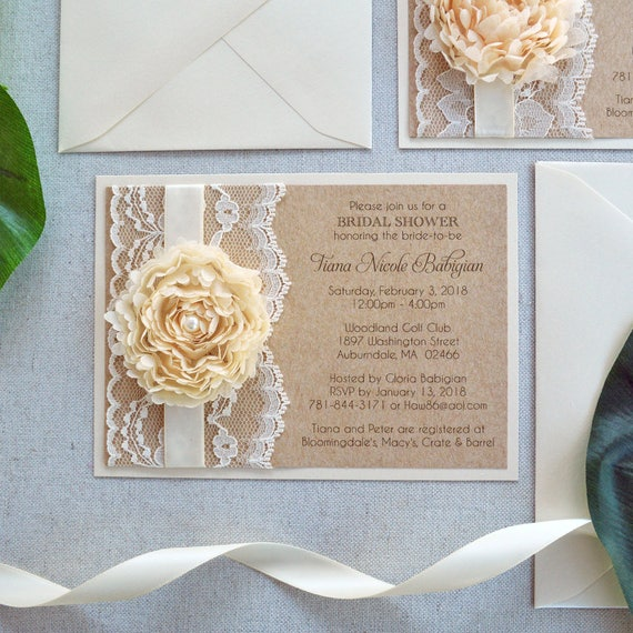 TIANA - Ivory Lace Bridal Shower Invitation - Chiffon Flower Invitation - Burlap and Lace Invitation - Country, Rustic, Shabby Chic Invite