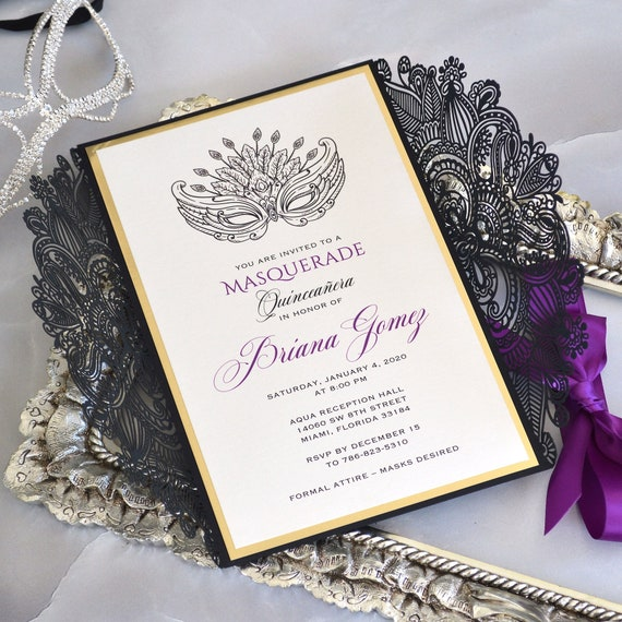 MASQUERADE Laser Cut Quinceañera Invitation - Black Laser Cut Gatefold Invitation with Gold Foil Border and Purple Ribbon - Sweet 16 Invite