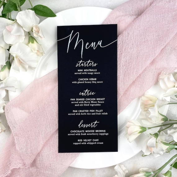Black Wedding Menu - White Ink on Black Card Stock - Custom Menu - Dinner Menu Card