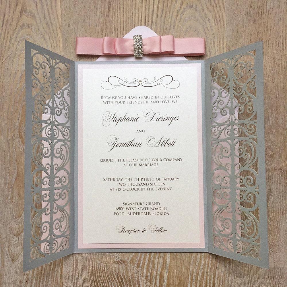 stephanie blush and silver laser cut wedding invitation silver