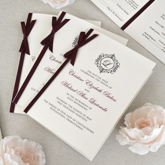 Wedding Program with Satin Ribbon Bow - Ivory and Burgundy Wedding Program - Church Program - Folding Program - Custom Wording & Colors