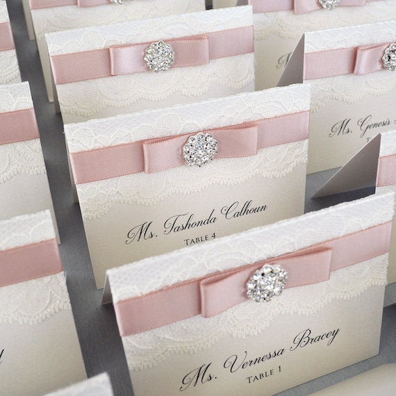 Silver Crystal Button Place Cards - Blush and Ivory Lace Escort Cards - Vintage Table Cards - Satin Bow and Rhinestone Button