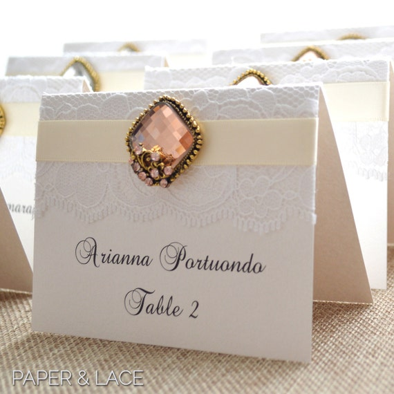 Vintage Brooch Place Cards - Lace Escort Cards - Embellished Lace Place Cards for Vintage Wedding - Tented Table Card - Rose Gold Brooch