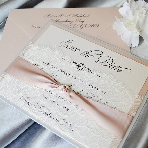 LACE POCKET Save The Date - Silver Glitter & Blush Save the Date Card with Ivory Lace Pocket and Antique Pink Ribbon