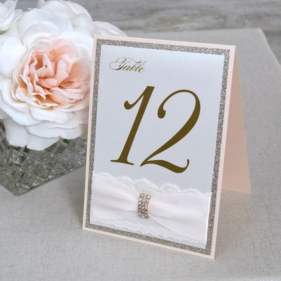 Peach Blush and Gold Table Number with Ivory Lace and Rhinestone Buckle - Elegant Wedding Table Number-  Tented Table Number Card