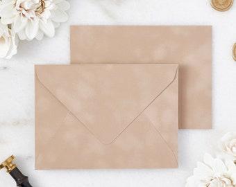 Camel / Nude Velvet Envelopes - A7 or A9 Euro Flap Envelopes - Suede Envelopes - Wedding Invitation Envelopes - Inner Envelope