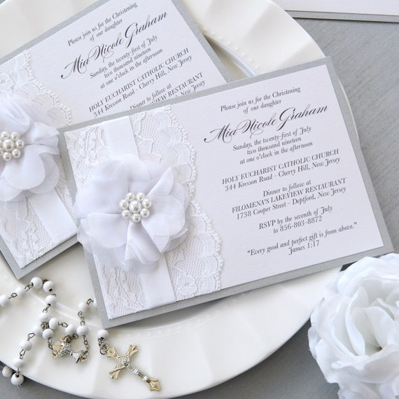 MIA - White and Silver Lace Baptism Invitation - Christening Invite with White Lace and White Chiffon Flower - Custom Colors
