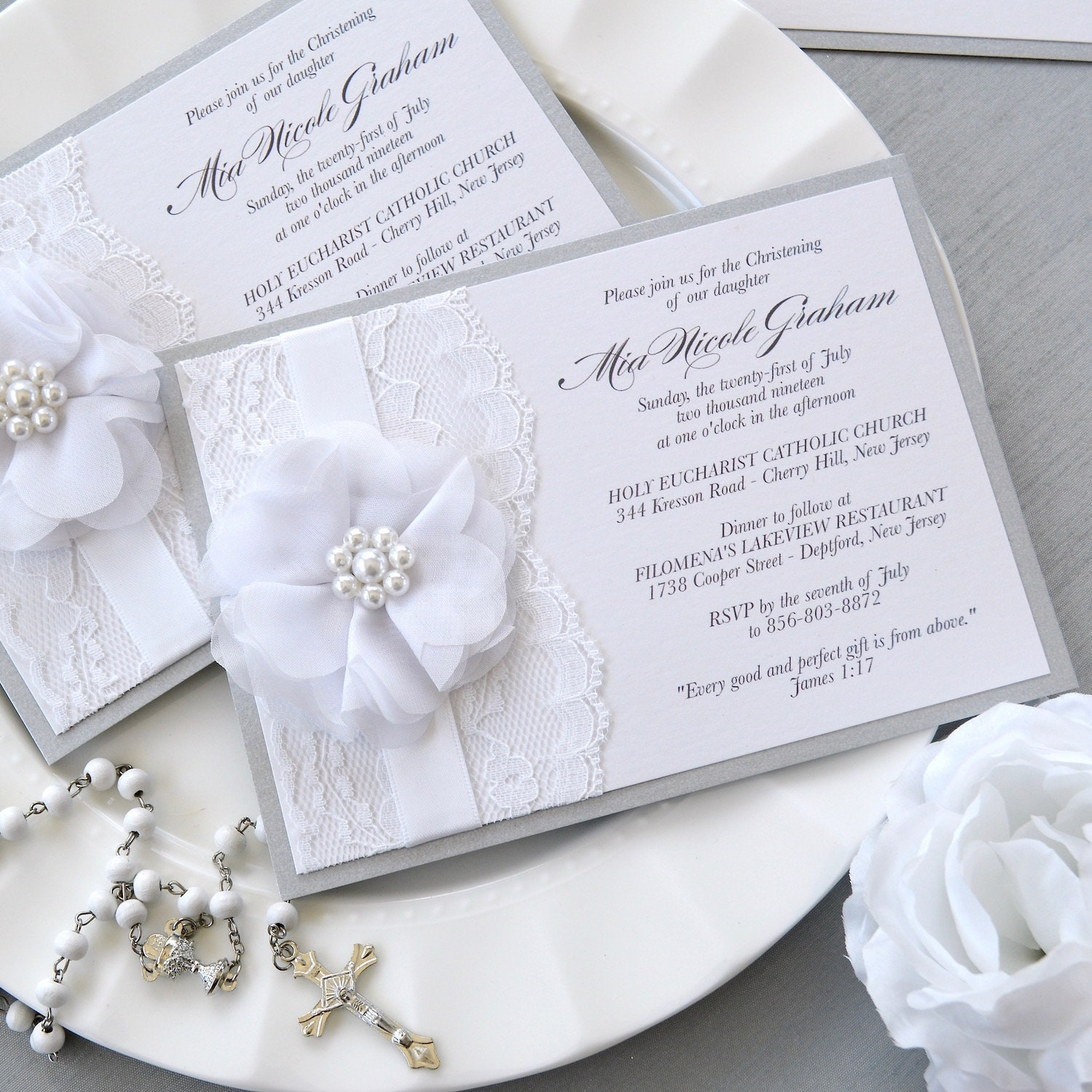 MIA - White and Silver Lace Baptism Invitation - Christening
