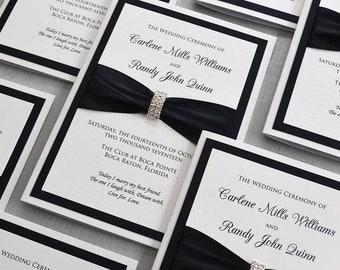 Black and White Wedding Program - White Folding Church Wedding Program with Black Satin Ribbon and Silver Rhinestone Buckle