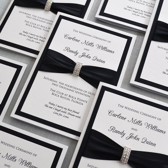 Black and White Wedding Program - White Folding Church Wedding Program with Black Satin Ribbon and Silver Rhinestone Buckle