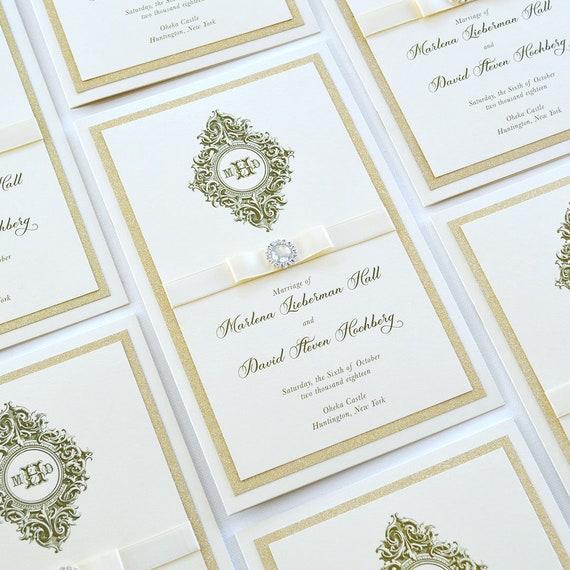 Ivory and Gold Glitter Wedding Program - 8 Page Church Wedding Program with Gold glitter Accents, Ivory Ribbon and Rhinestone Button