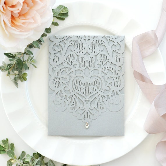 DIY Lace Laser Cut Pocket Invitation - Laser Cut Wedding Invitation - Lace Laser Cut Invitation w/ Pocket - Do It Yourself Pocket Invitation