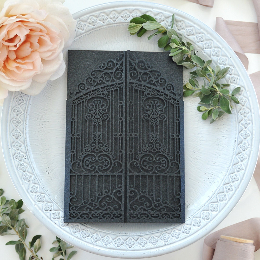 Diy laser cut iron gates invitation laser cut wedding invitation diy laser cut iron gates invitation laser cut wedding invitation castle gates laser cut invite do it yourself laser cut invitation solutioingenieria Gallery