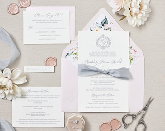 KIMBERLY - Letterpress Wedding Invitation - Double Thick 100% Cotton Pearl White Card Stock with Grey Silk Ribbon and Floral Envelope Liner
