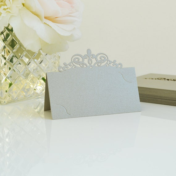 10 Pack of Antique Silver Laser Cut Place Cards - DIY Place Cards for Wedding, Bridal Shower, Birthday Party, Quince, Sweet 16