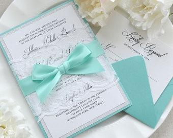 JILLIAN - White Lace Wrapped Wedding Invitation with Silver Glitter, Aqua Satin Ribbon, and Aqua Backing - Custom Colors Available