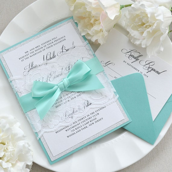 JILLIAN - White Lace Wrapped Wedding Invitation with Silver Glitter, Aqua Satin Ribbon, and Aqua Backing - Custom Colors Available