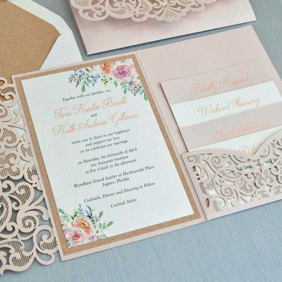 TARA - Rose Gold Foil Stamped Laser Cut Wedding Invitation - Blush Laser Cut Pocket Invite - Rose Gold Foil Printing-Rose Gold Glitter Liner
