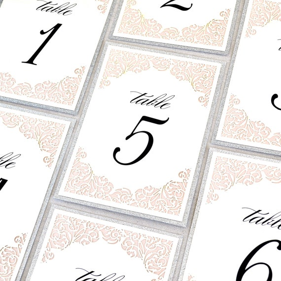 Blush and Silver Glitter Laser Cut Table Number - Elegant Wedding Table Number-  Flat Table Number Card with Glitter Border - Laser Cut Card