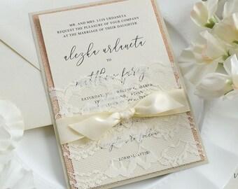 ALEZKA - Ivory Lace Pocket Wedding Invitation with Rose Gold Glitter, Ivory Satin Ribbon, and Champagne Backing - Custom Colors Available