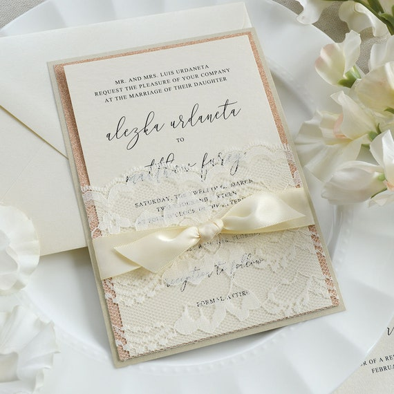 ALEZKA - Ivory Lace Pocket Wedding Invitation with Rose Gold Glitter, Ivory Satin Ribbon, and Champagne Backing - Custom Colors Available