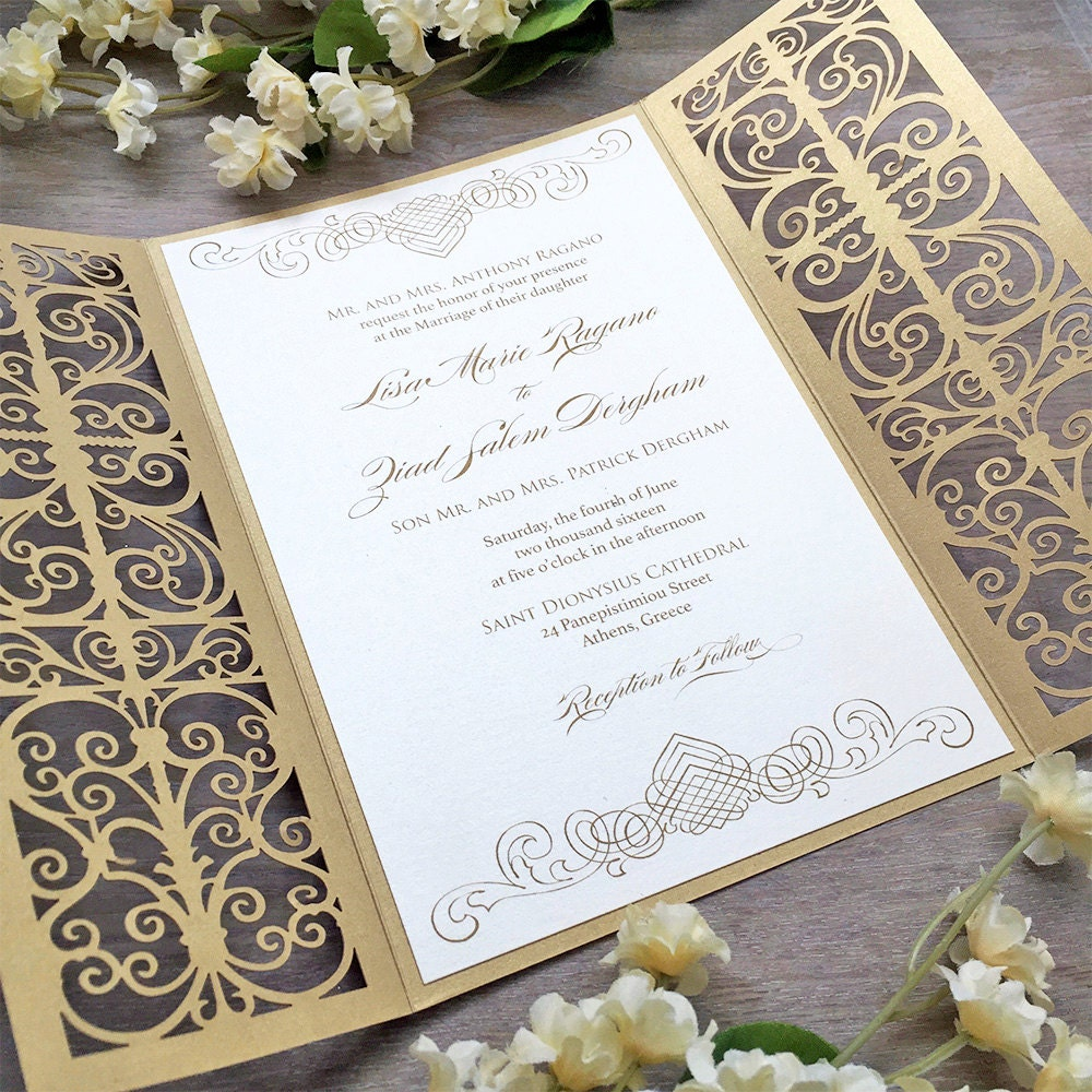 LISA - Ivory and Gold Laser Cut Wedding Invitation - Metallic Gold ...