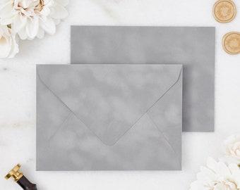 Chrome / Silver / Grey Velvet Envelopes - A7 or A9 Euro Flap Envelopes - Suede Envelopes - Wedding Invitation Envelopes - Inner Envelope
