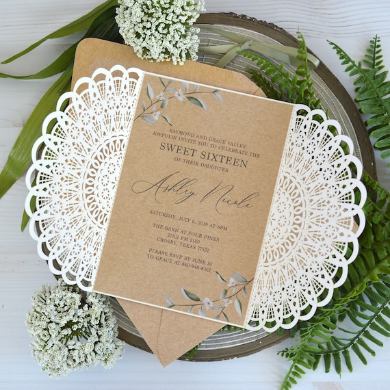 RUSTIC Laser Cut Sweet 16 Invitation - Ivory Laser Cut Gatefold Invitation with Burlap / Kraft Card Stock and Green Ribbon - Quinceañera