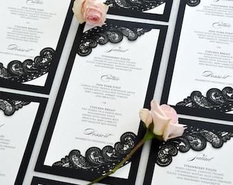 Black and White Chantilly Lace Laser Cut Wedding Menu - Long Dinner Menu with Laser Cut Corners