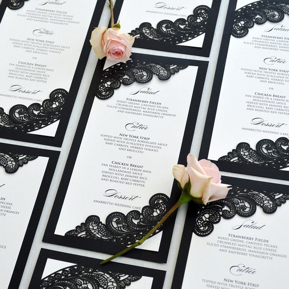 Black and White Chantilly Lace Laser Cut Wedding Menu - Long Dinner Menu with Laser Cut Corners