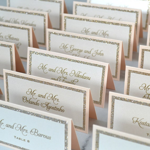 Peach Blush and Gold Glitter Place Cards - Tented Escort Cards - Custom Placecard for Weddings, Sweet 16, Quinceañera, Bridal Showers