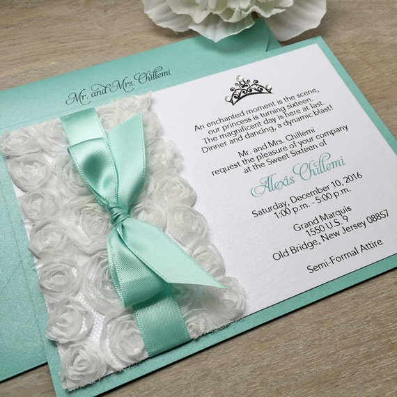 ALEXIS - White Rosette Sweet Sixteen Invitation - White Rosettes and Aqua Ribbon with Swarovski Crystals - Quinceañera Invitation