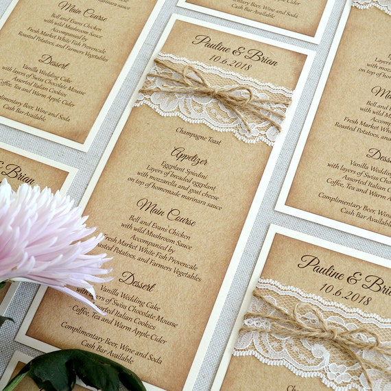25 Pack of Burlap and Lace Wedding Menu - Rustic Wedding Menu - Natural Kraft Menu with distressed edges - Boho Chic - Country Wedding