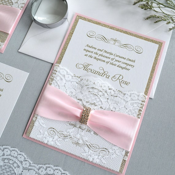 ALEXANDRA - Lace Pocket Communion Invitation- Pink and Gold Glitter with White Lace Pocket, Pink Ribbon and Gold Rhinestone Brooch