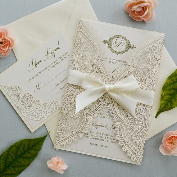 IVORY CHANTILLY LACE Laser Cut Wrap Invitation - Ivory Laser Cut Wedding Invitation with Ivory Shimmer Insert and Ivory Ribbon Bow