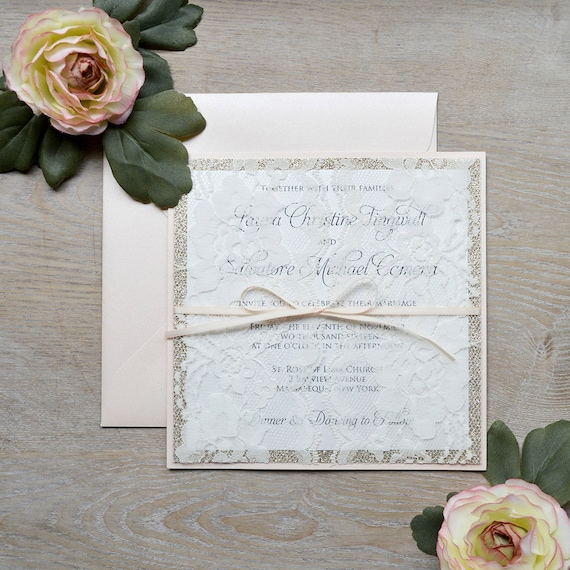 LAURA - Lace Doors Wedding Invitation - Blush & Gold Glitter with Ivory Lace and Peach Blush Ribbon - Couture Lace Invitation