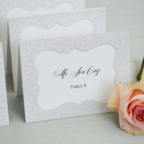 Silver Glitter Place Cards - Escort Card - Custom Placecard for Wedding, Sweet 16, Quinceañera, Bridal Showers - Silver Glitter Frame
